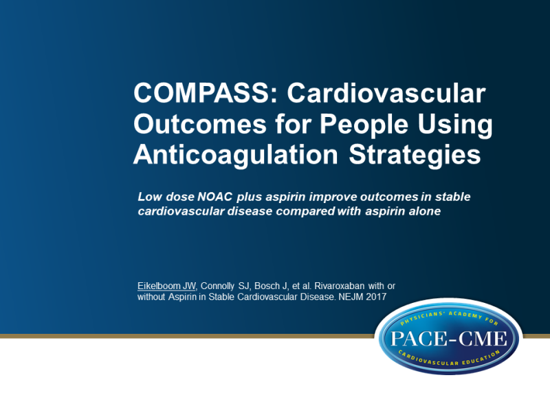 low dose noac plus aspirin improves outcomes in stable cv disease compared to aspirin alone
