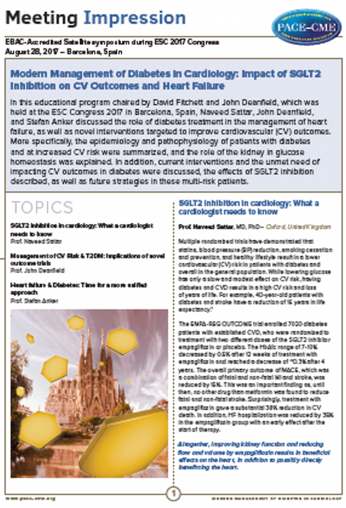Meeting Impression | Modern Management of Diabetes in Cardiology: Impact of SGLT2 Inhibition on CV Outcomes and Heart Failure