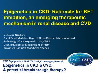 This lecture by dr. Louise Nordfors was part of a CME accredited symposium: Epigenetics in CKD & CVD: A potential breakthrough therapy?' held at ERA-EDTA 2018 in Copenhagen