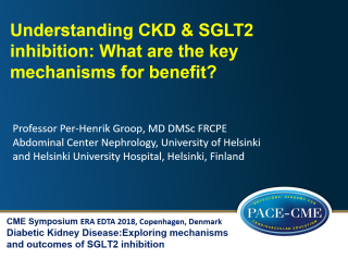 This lecture by prof. Per-Henrik Groop was part of a CME accredited symposium: Diabetic Kidney Disease: Exploring mechanisms and outcomes of SGLT2 inhibition held at ERA-EDTA 2018 in Copenhagen
