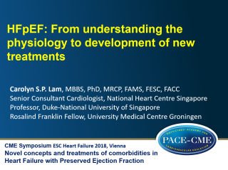 This lecture by Prof Carolyn Lam was part of a CME accredited symposium: Novel concepts and treatments of comorbidities in Heart Failure with Preserved Ejection Fraction held at ESC Heart Failure 2018 in Vienna