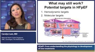 Prof. Carolyn Lam recognizes six mechanisms that play a role in the pathophysiology of HFpEF. She shares evidence why these mechanisms may be targeted for therapy.
