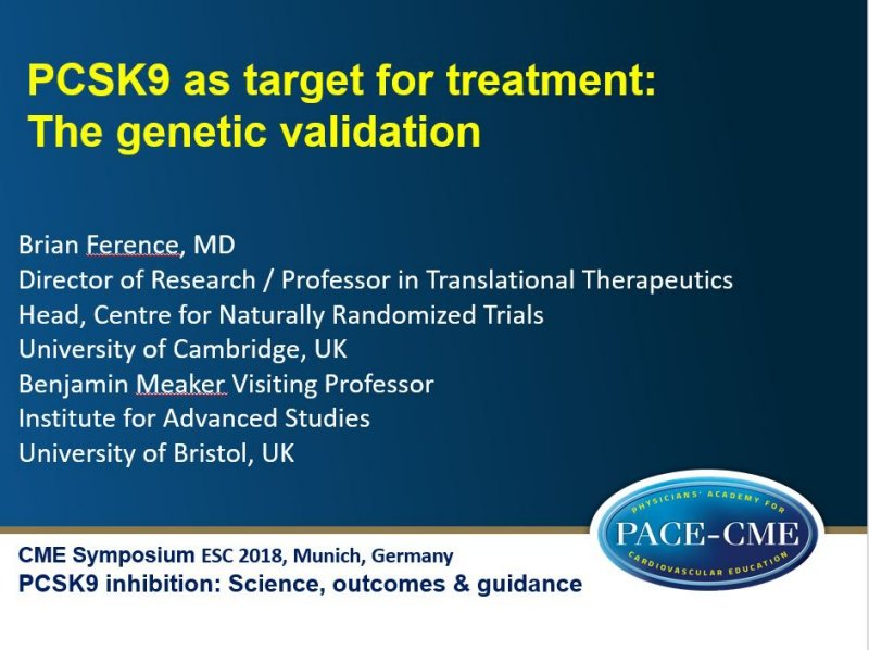 Slides: PCSK9 as target for treatment: The genetic validation