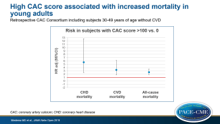 A CAC score>100 was associated with increased risk of CHD, CVD and all-cause mortality compared to CAC score of 0 in adults between 30-49 years.