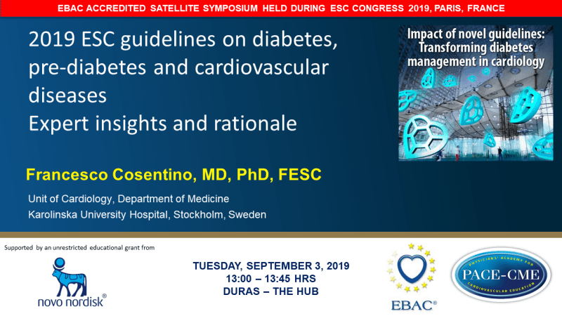 Slides: 2019 ESC guidelines on diabetes, pre-diabetes and cardiovascular diseases - Expert insights and rationale