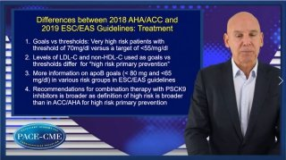 Before listing the differences between the AHA/ACC 2018 and ESC/EAS 2019 dyslipidemia guidelines, prof. Ballantyne shares common themes and shared concept across the guidelines.