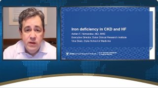 Adrian Hernandez gives background information about iron metabolism and discusses results from outcome trials on iron deficiency in HF.
